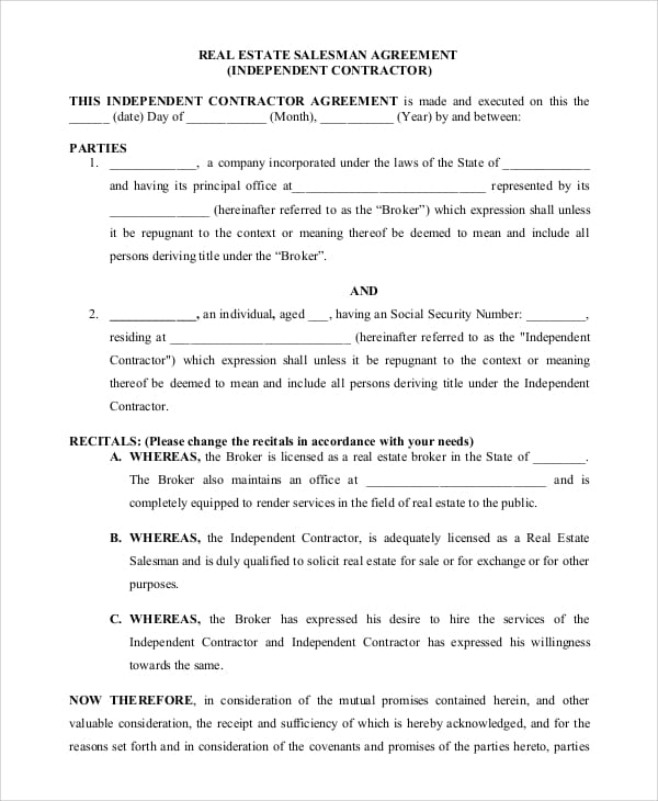 Real Estate Salesperson Employment Agreement for Free Lease Agreement