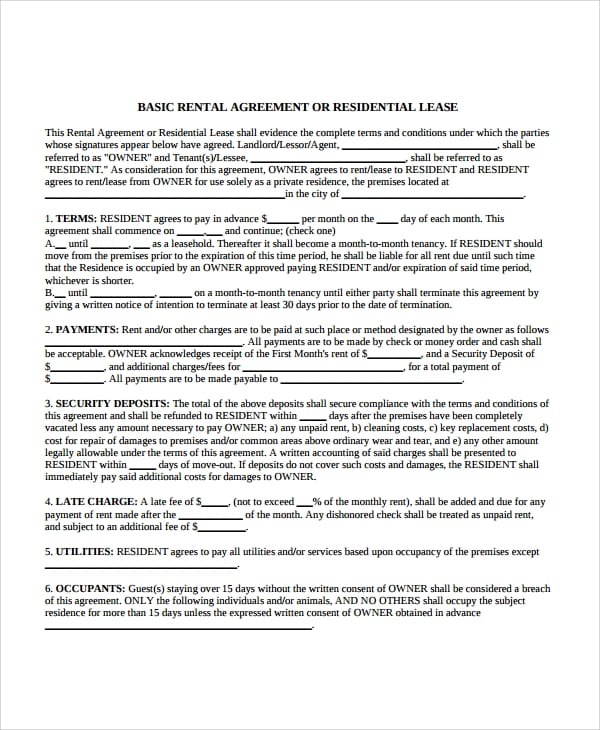 Rental Agreement For Apartment Lease For Apartment Lease Agreements