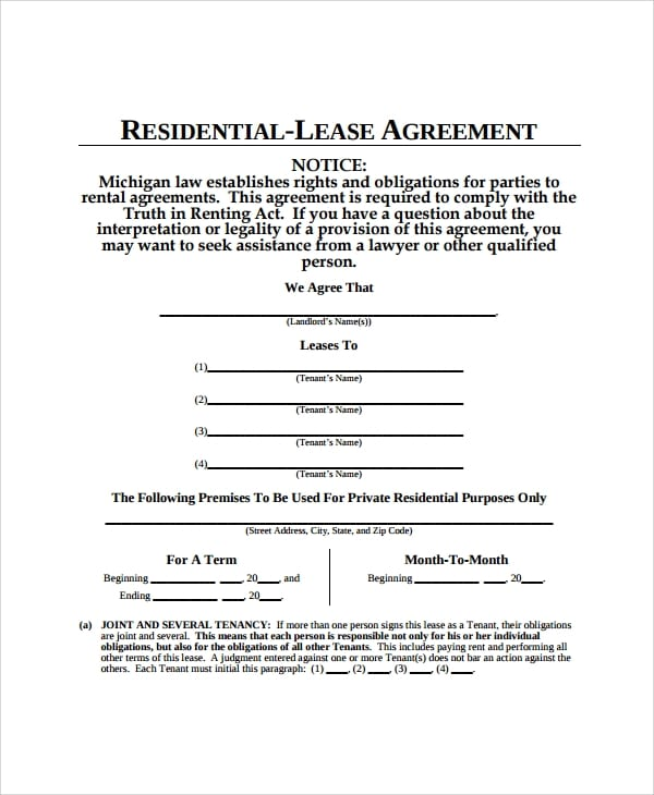 Residential Apartment Lease Agreement For Apartment Lease Agreements