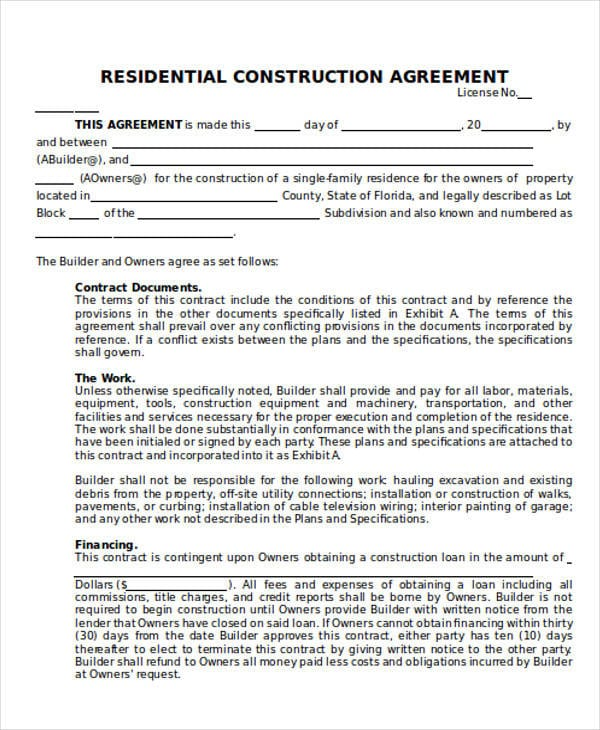 Residential Construction Contract Agreement For Construction Agreement Forms