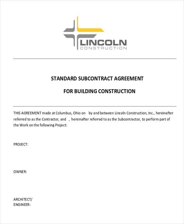 Residential Construction Subcontractor Agreement For Construction Agreement Forms