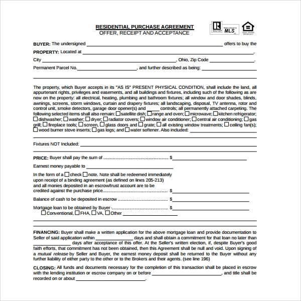 Residential Purchase Agreement Form For Residential Purchase Agreements