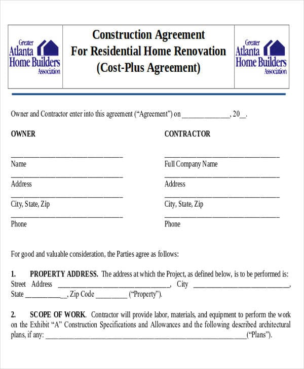 Residential Remodeling Contract Agreement For Construction Agreement Forms