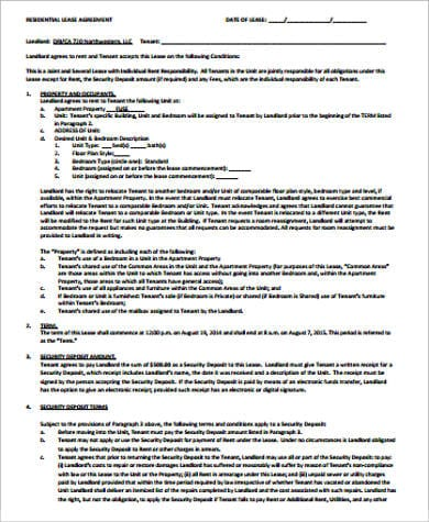 Residential Room Rental Agreement Example for Confidential Disclosure Agreements