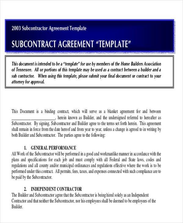 Residential Subcontractor Agreement For Construction Agreement Forms