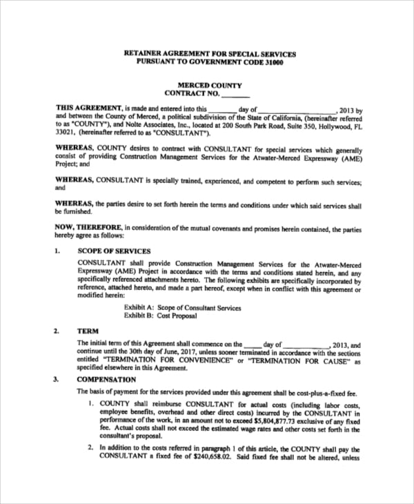 Retainer Agreement for Consulting Services for Consulting Agreement