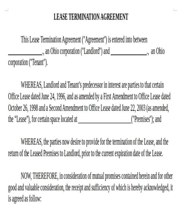 Road Commercial Lease Termination Agreement3 For Commercial Agreement Format