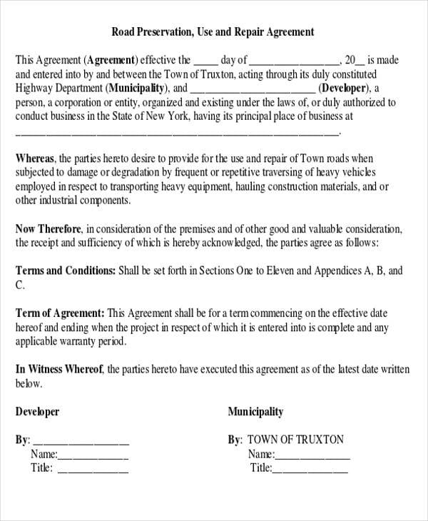 Road Preservation Use And Repair Agreement For Construction Agreement Forms