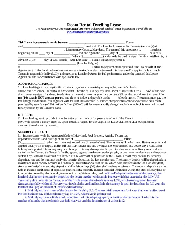 Room Rental Dwell Lease Agreement1 for Employment Release Agreement