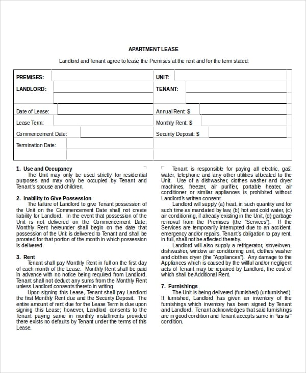 Sample Apartment Lease Agreement For Apartment Lease Agreements