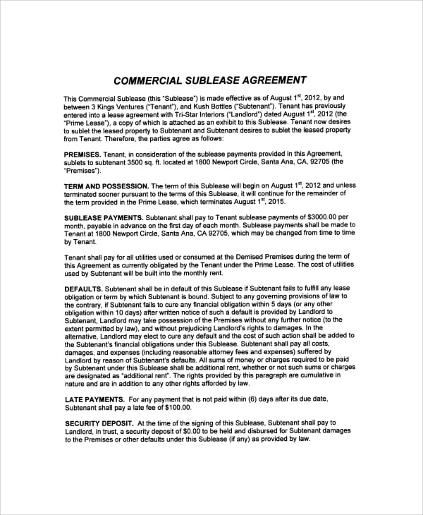 Sample Commercial Sublease Agreement For Commercial Sublease Agreement