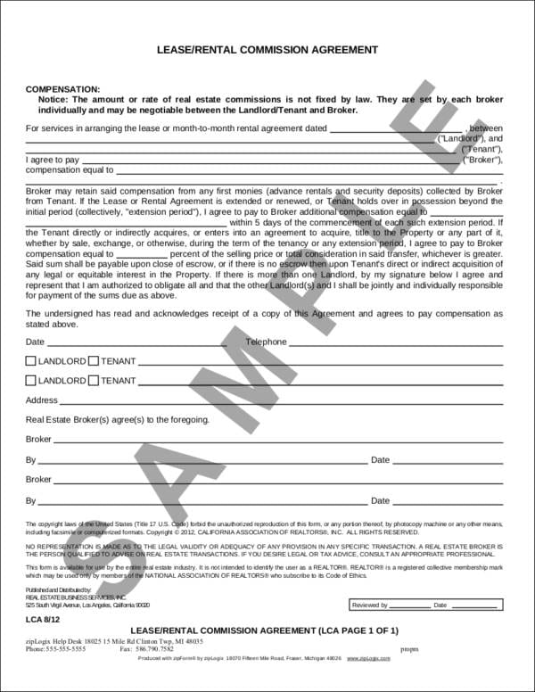 Sample LeaseRental Commission Agreement For Sales Commission Agreement Samples