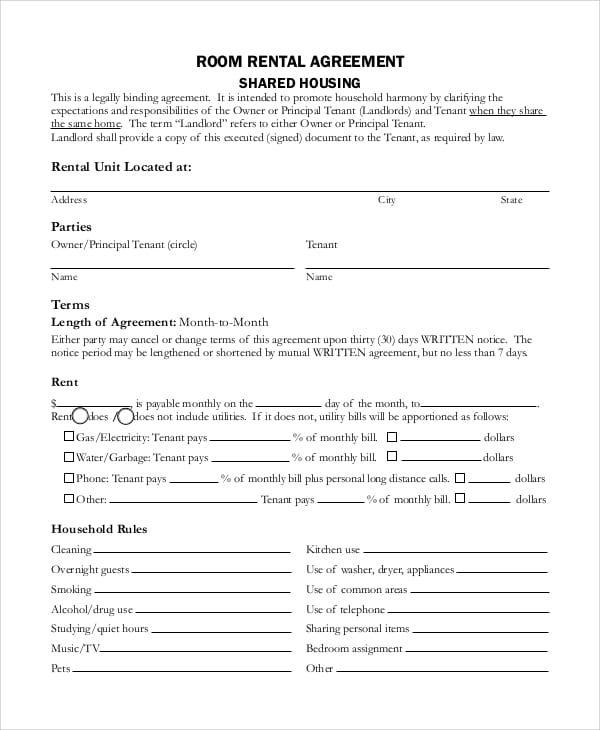 Sample Room Rental Agreement for Lease Agreements
