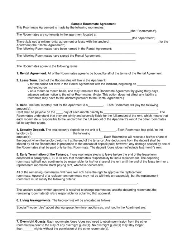 Sample Roommate Agreement 1 for Sample Room Rental Agreement Template Pdf