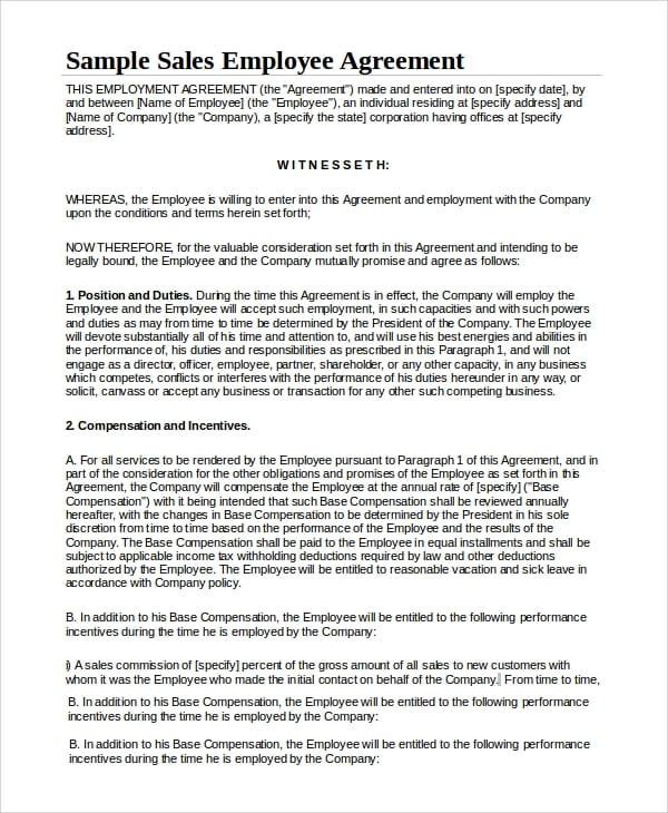 Sample Sales Employment Agreement for Standard Confidentiality Agreements