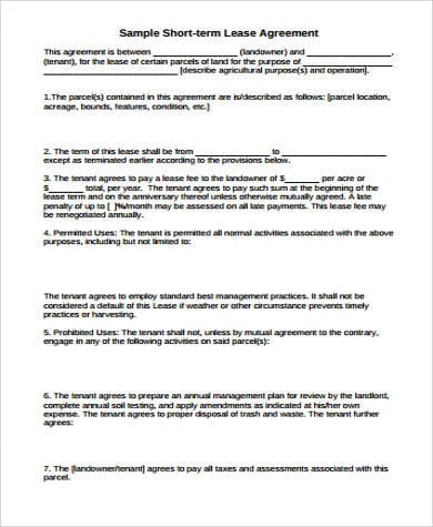 Sample Short Term Lease Agreement for Lease Agreements Sample