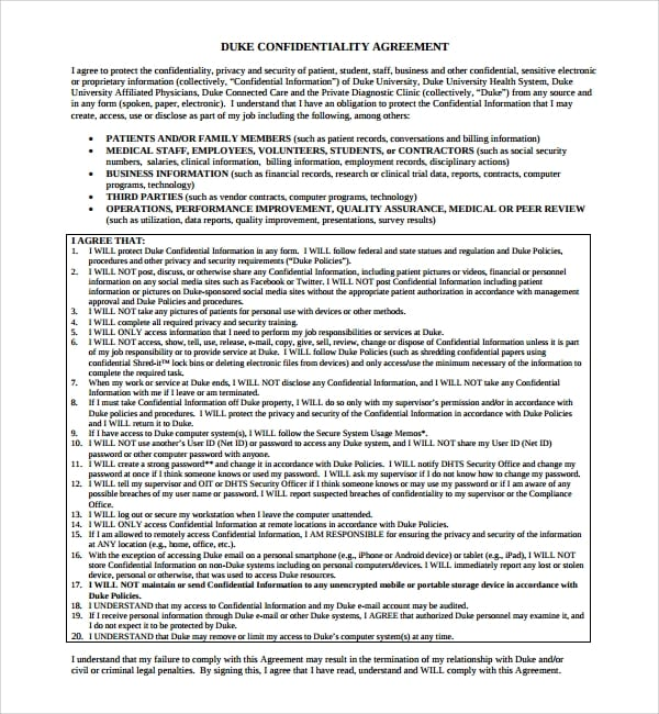 Sample Standard Confidentiality AgreementEFBBBF For Standard Confidentiality Agreement