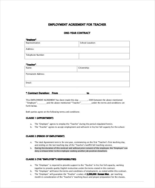 School Teacher Agreement Contract For Teacher Agreement Contract
