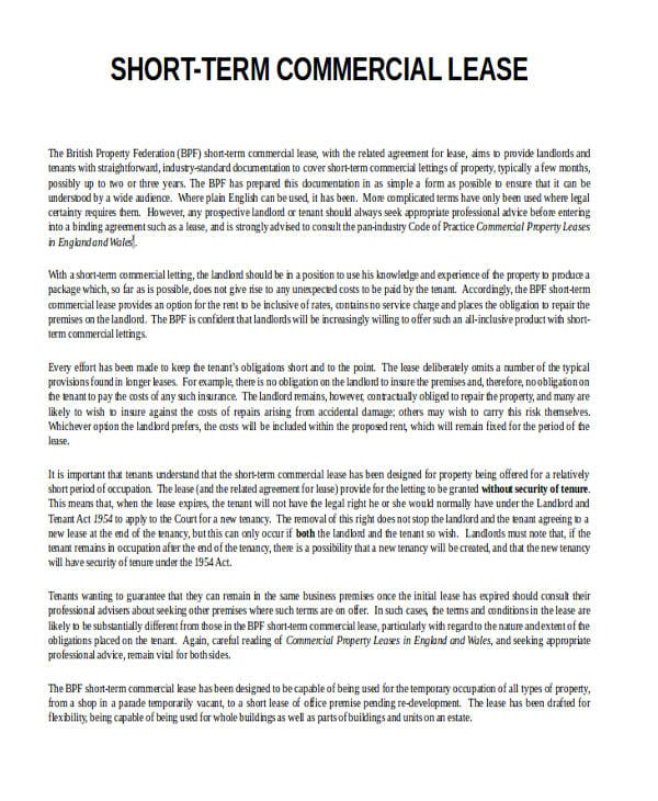 Short Commercial Lease Termination Agreement3 For Commercial Agreement Format