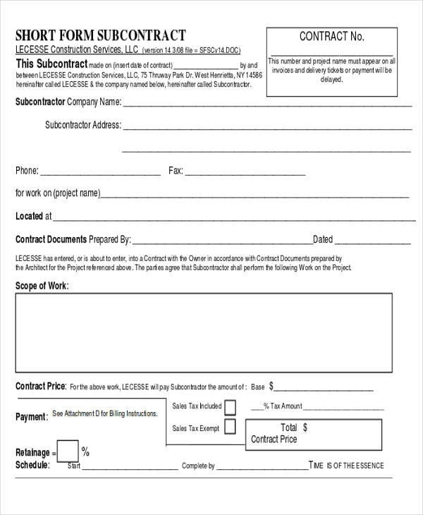 Short Form Subcontract Agreement For Construction Agreement Forms