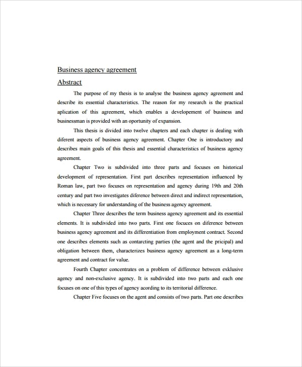 Simple Business Agency Agreement for Business Agency Agreement Template