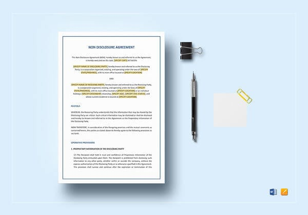 Simple Non Disclosure Agreement Template for Blank Lease Agreements