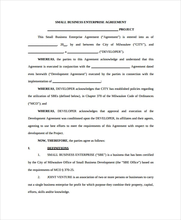 Small Business Development Agreement for Business Development Agreement Template
