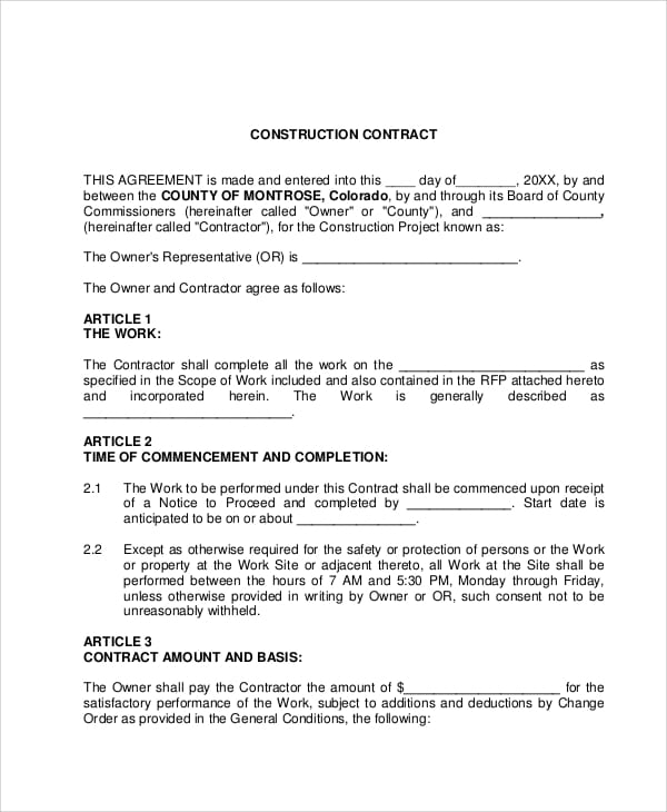 Standard Construction Contract Agreement for Construction Contract Agreement