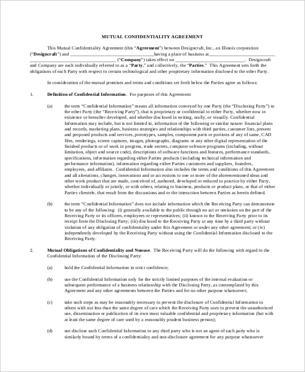 Standard Mutual Confidentiality Agreement for Property Management Agreements