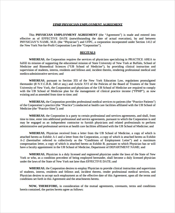 Standard Physician Employment Agreement for Rental Lease Agreement Sample