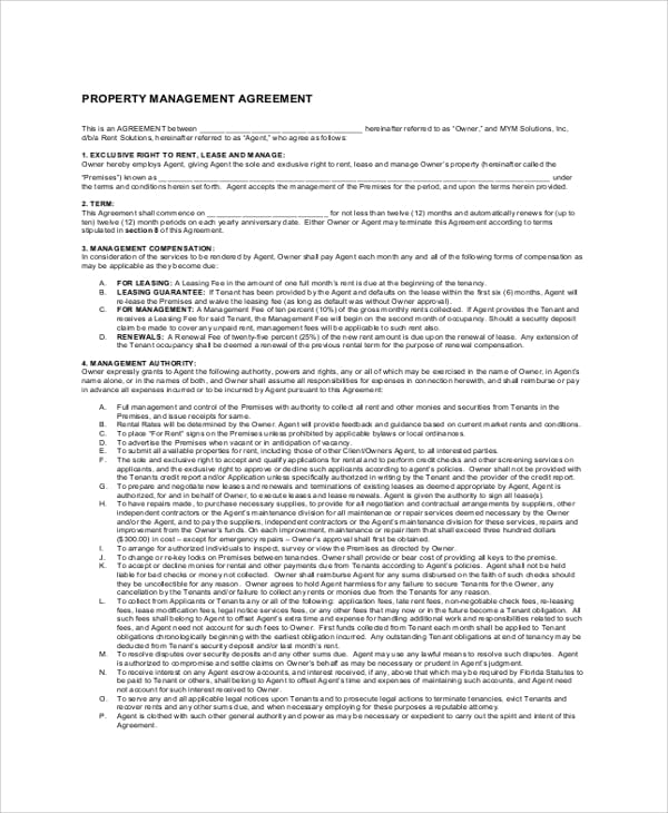 Standard Property Management Agreement for Month To Month Rental Agreements