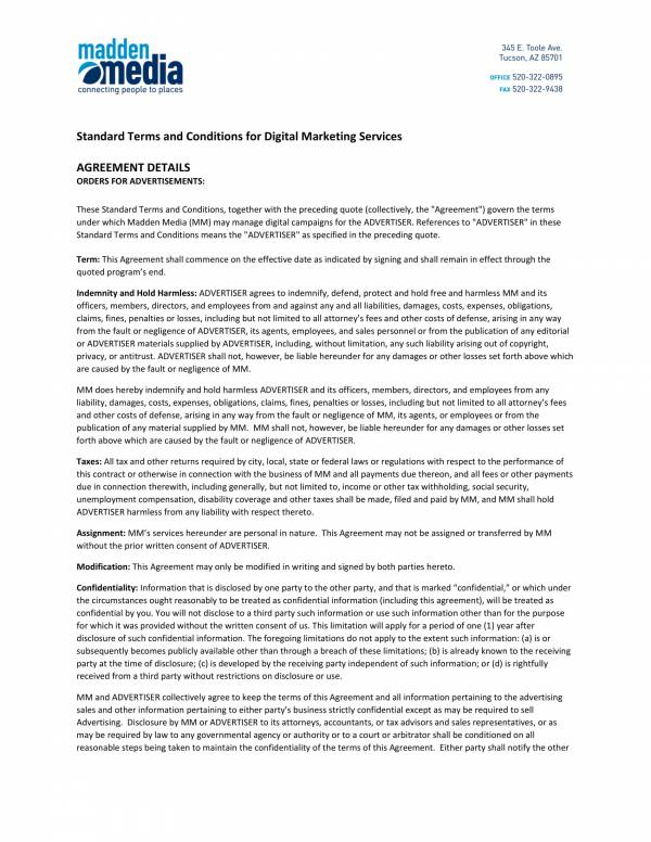 Standard Terms And Conditions For Digital Marketing Services 1 For Marketing Services Agreement Template Pdf Word