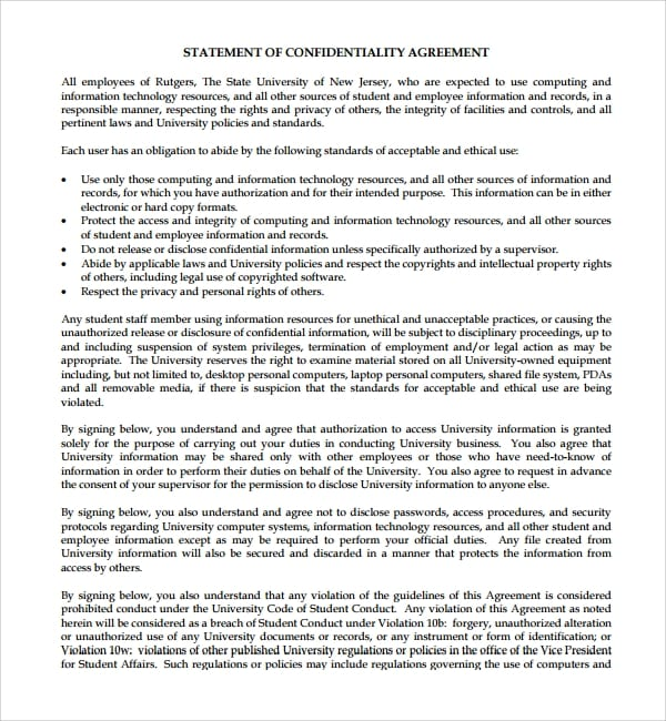 Statement of Standard Confidentiality Agreement for Standard Confidentiality Agreement