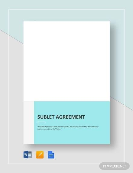 Sublet Agreement Template for Commercial Sublease Agreement