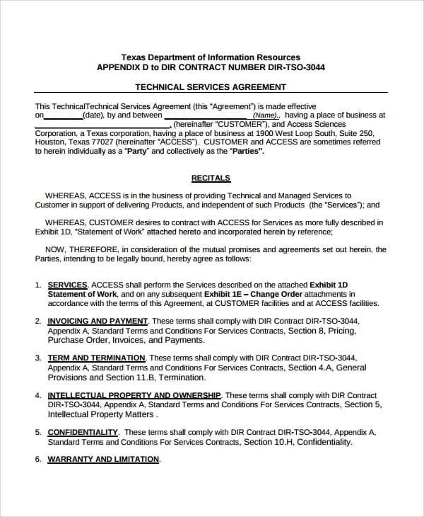 Technical Consulting Services Agreement for Consulting Service Agreement