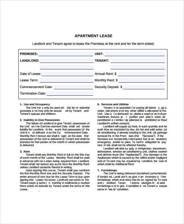 Tenant Apartment Lease Agreement For Apartment Lease Agreements