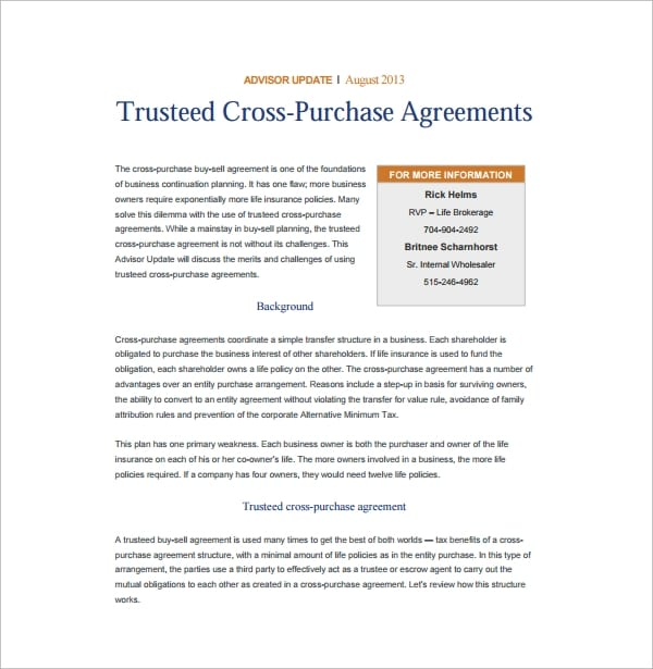 Trusteed Cross Purchase Agreement for Cross Purchase Agreement Template