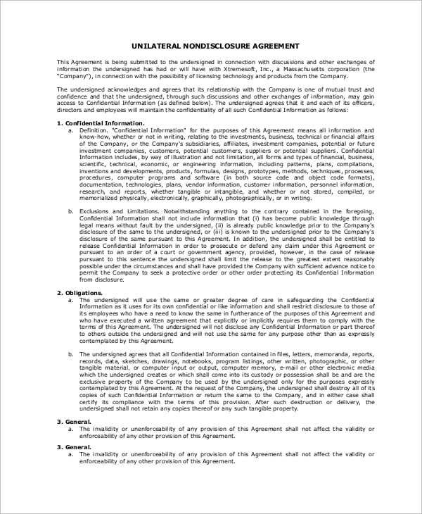Unilateral Nondisclosure Agreement for Renters Agreement