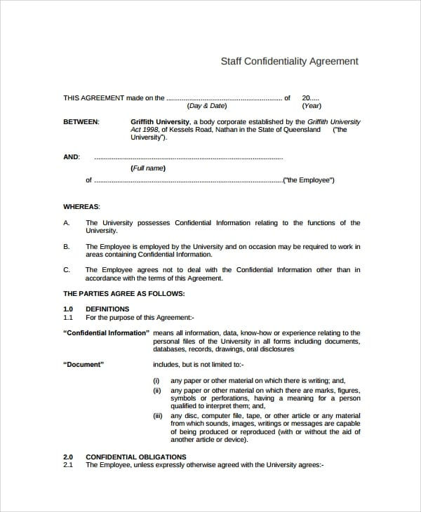 University Staff Confidentiality Agreement for Business Purchase Agreements