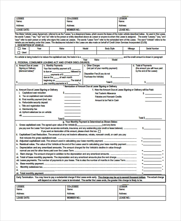 Vehical Lease Agreement for Lease Agreement