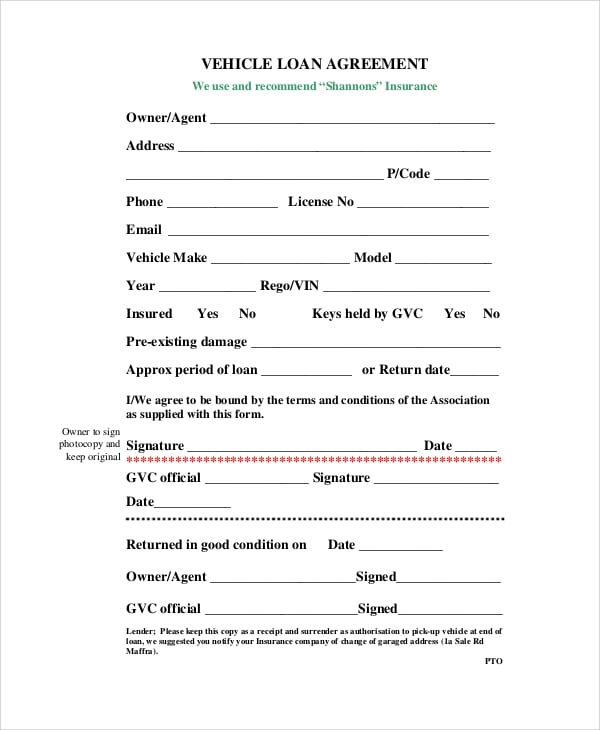 Vehicle Loan Agreement Form for Simple Lease Agreements
