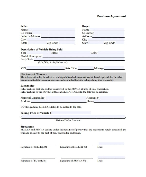 Vehicle Purchase Agreement for Purchase Agreement