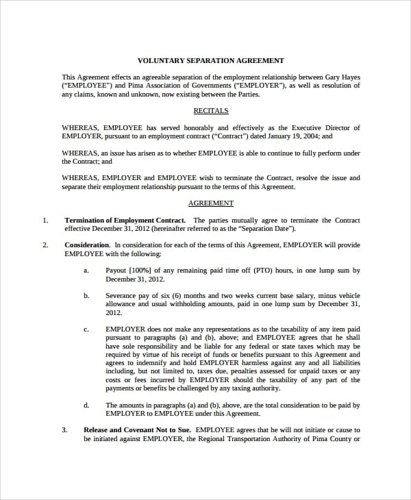 Voluntary Employment Separation Agreement for Employment Separation Agreement
