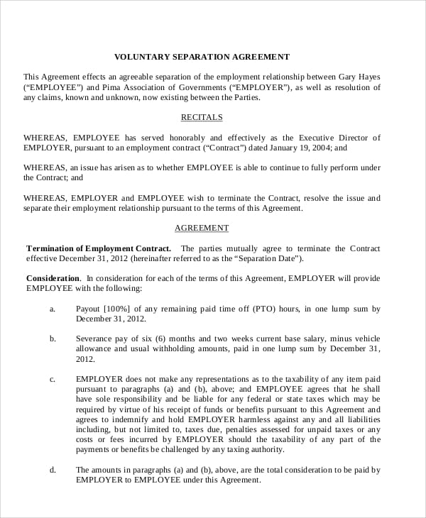 Voluntary Employment Separation Agreement for Loan Agreement Form