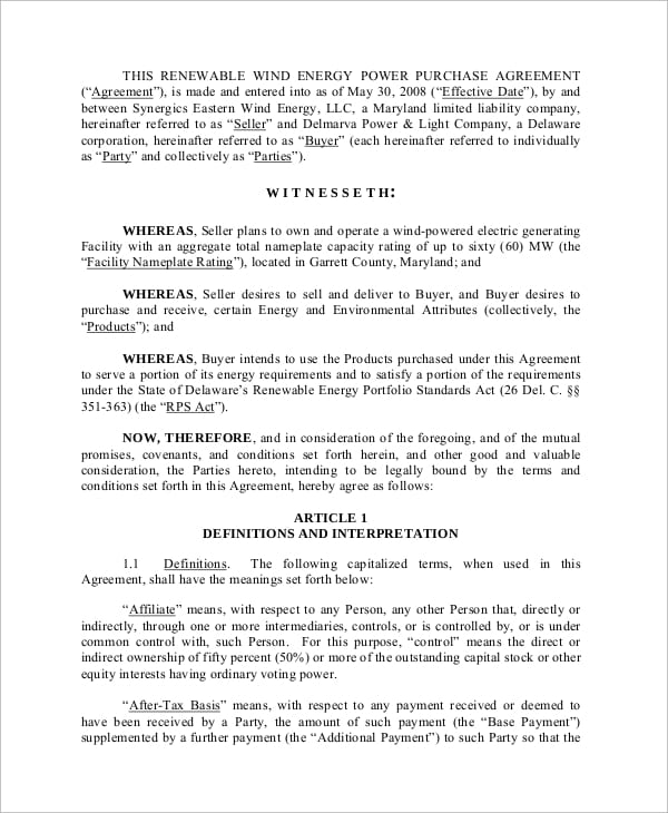 Wind Power Purchase Agreement for Subcontractor Agreements