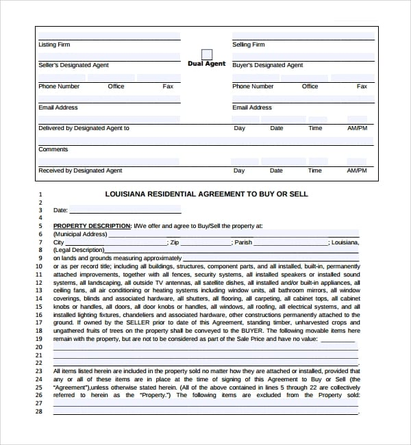 Blank Residential Purchase Agreement For Residential Purchase Agreements