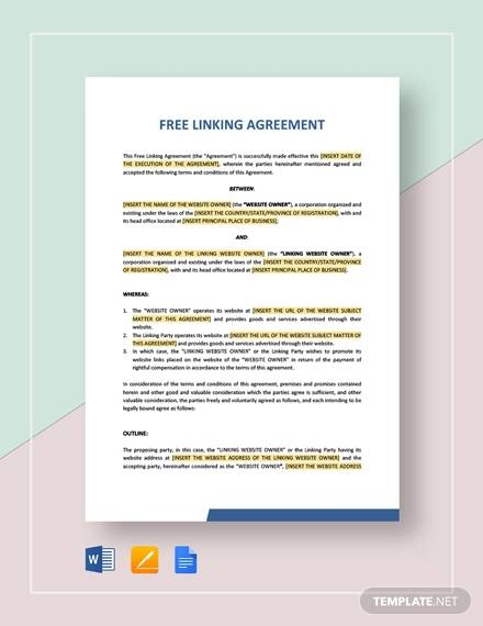 Free Linking Agreement For Linking Agreement Template