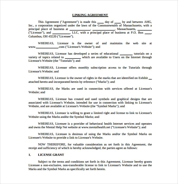 Linking Agreement Template Download For Linking Agreement Template