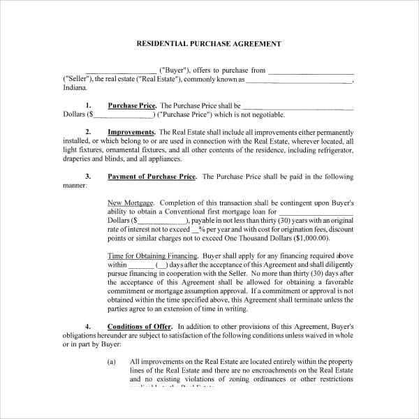Residential Purchase Agreement Example For Residential Purchase Agreements