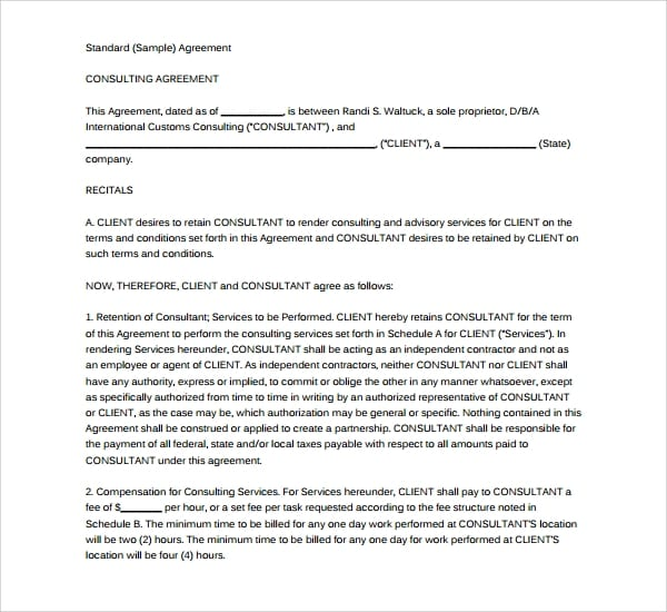 standard business consulting agreement for Business Consulting Agreement